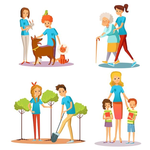 Freiwillige leute helfen flache karikatur-sammlung Kostenlosen Vektoren