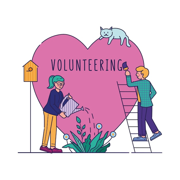 Freiwillige vektorillustration für wohltätige zwecke Kostenlosen Vektoren