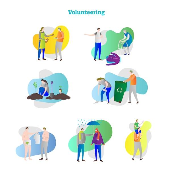 Freiwilligenarbeit konzept sammlung Premium Vektoren