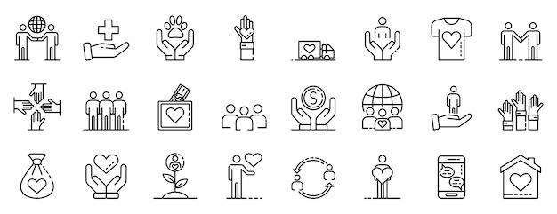 Freiwilligenarbeit symbole festgelegt, umriss-stil Premium Vektoren