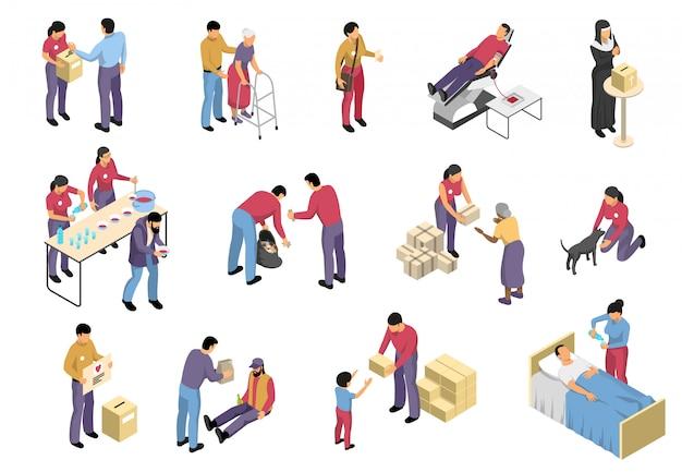 Freiwilligenarbeit und charity isometric set Kostenlosen Vektoren
