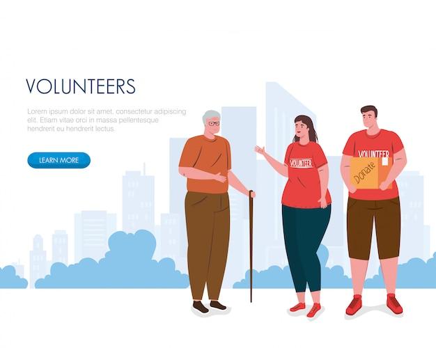 Freiwilliger frauenmann mit spendenbox und großvater Premium Vektoren
