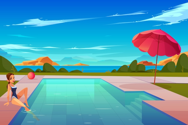 Freizeit auf sommerferienkarikatur Kostenlosen Vektoren