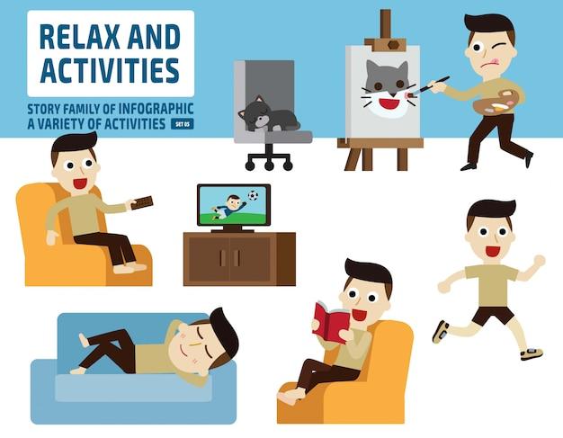 Freizeitaktivitäten. infografik-elemente. Premium Vektoren