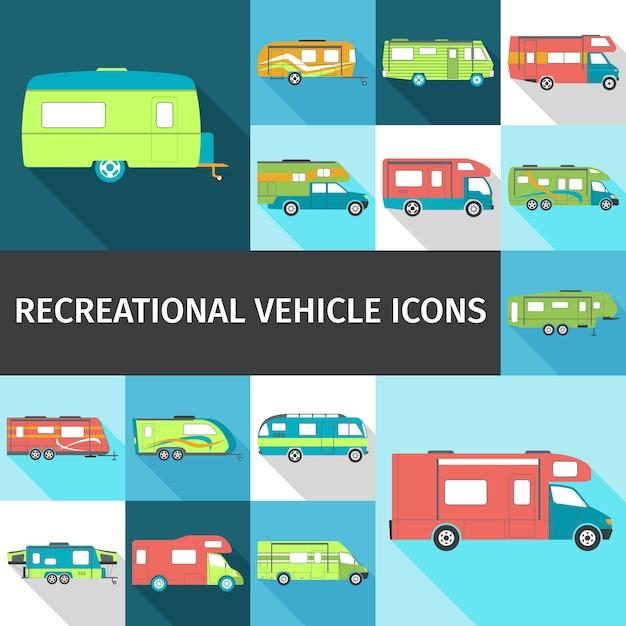 Freizeitfahrzeug flache ikonen Kostenlosen Vektoren