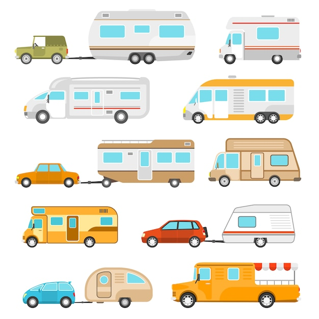 Freizeitfahrzeug icons set Kostenlosen Vektoren