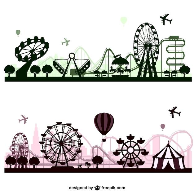 Freizeitpark-vektor skylines Kostenlosen Vektoren