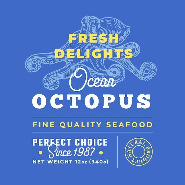 Fresh seafood delights premium-qualitätslabel. layout des verpackungsdesigns. Premium Vektoren
