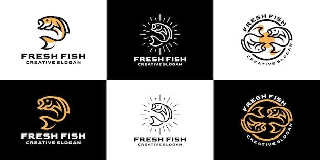 Fresh set aquatic retro line kreative set-sammlung für business-logo Premium Vektoren