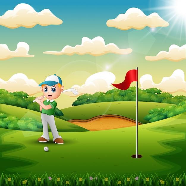 Freudig ein junge, der im gericht golf spielt Premium Vektoren