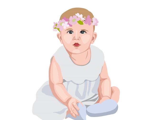 Freudiges baby im weißen kleid und in den socken mit blumenkrone auf kopf. lächeln und sich wundern Premium Vektoren