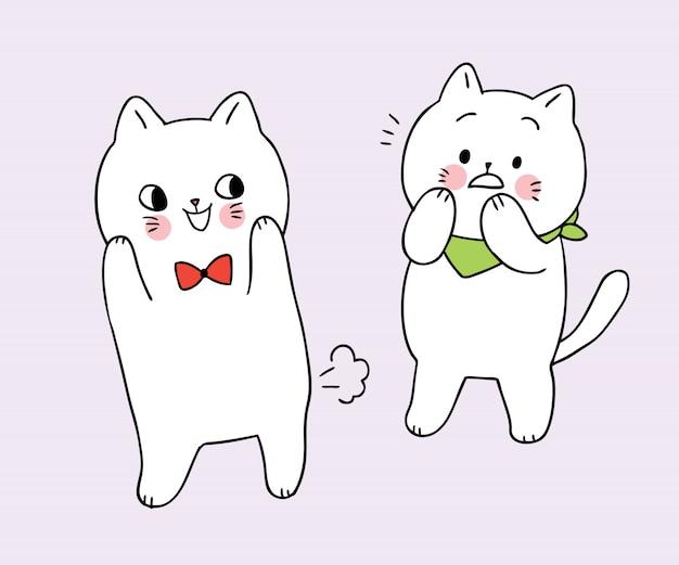 Freund-katzenvektor der karikatur farted nette lustige weiße katze. Premium Vektoren