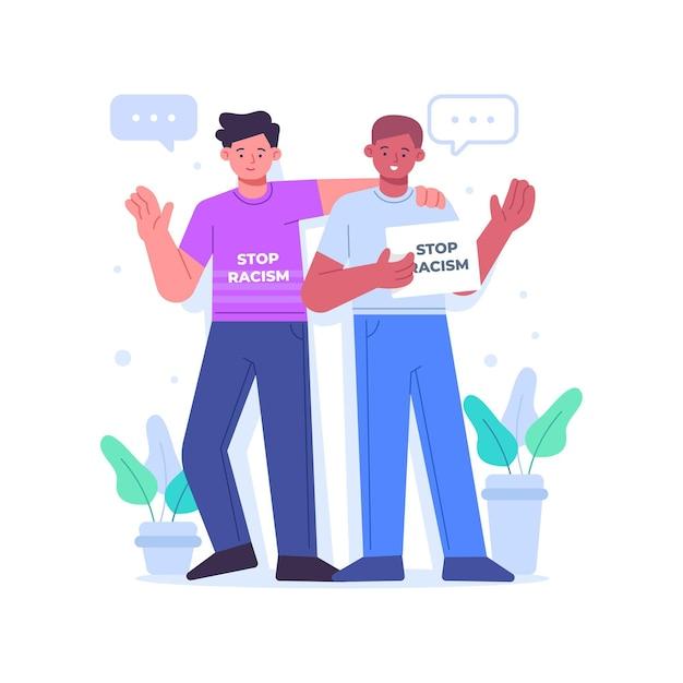 Freunde, die an der stop-rassismus-bewegung teilnehmen Kostenlosen Vektoren