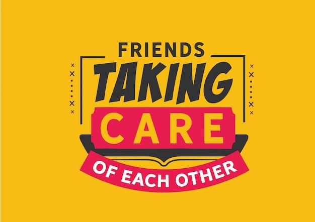 Freunde, die aufeinander aufpassen Premium Vektoren