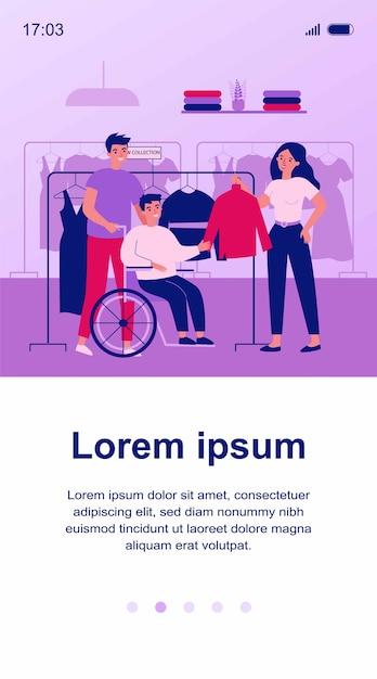 Freunde, die behinderten mann in der kleidergeschäftillustration helfen Premium Vektoren