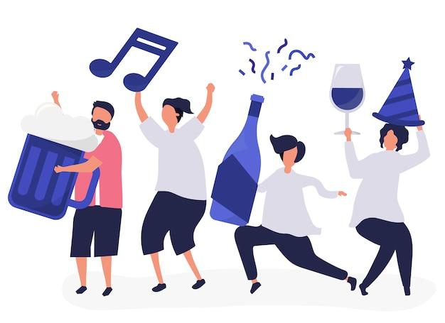 Freunde, die feiern und verschiedene getränke trinken Kostenlosen Vektoren