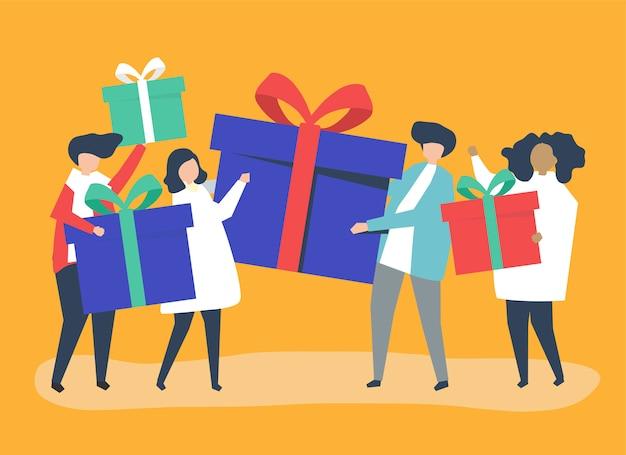 Freunde, die geschenkboxen miteinander austauschen Kostenlosen Vektoren