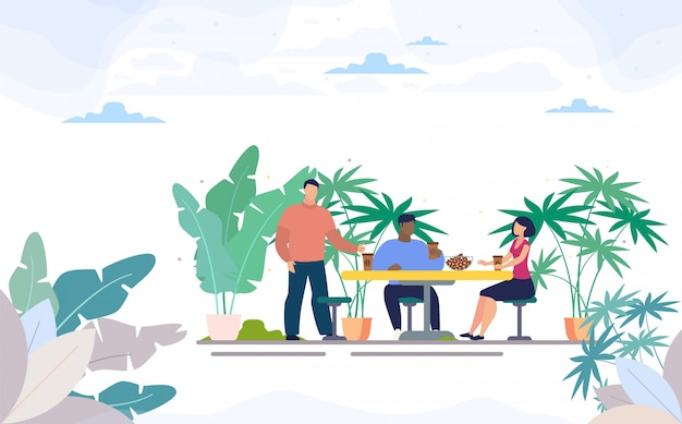 Freunde, die kaffee in der straßen-café-ebene trinken Premium Vektoren