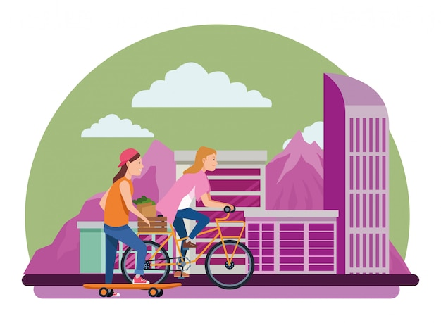 Freunde, die mit skateboard und fahrrädern fahren Premium Vektoren