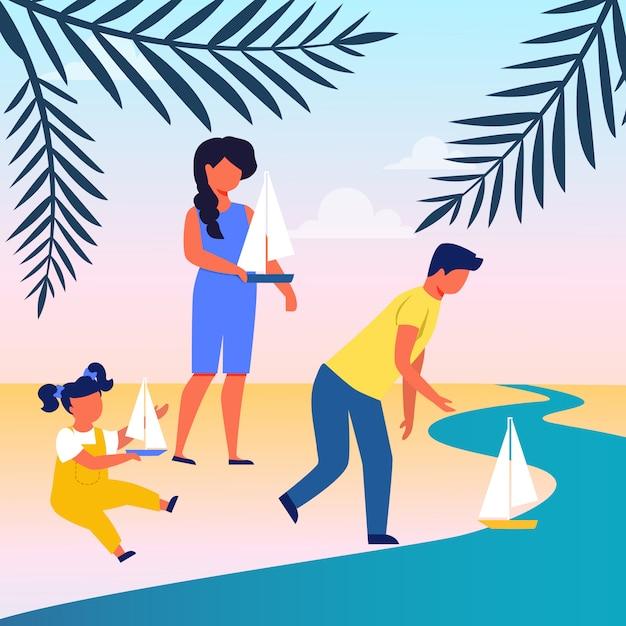 Freunde, die segelboot-flache illustration lassen Premium Vektoren