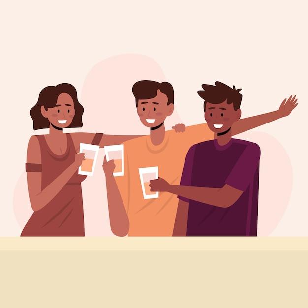 Freunde, die zusammen illustration rösten Kostenlosen Vektoren