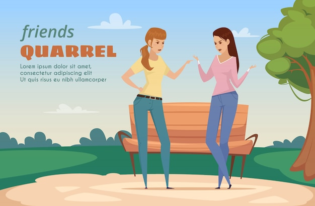 Freunde diskutieren schablone mit zwei verärgerten damen im park in der flachen artvektorillustration Kostenlosen Vektoren