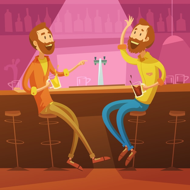 Freunde im bar-hintergrund mit stühlen und bier sprechen und trinken Kostenlosen Vektoren