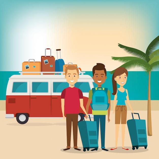 Freunde in den strandsommerferien Kostenlosen Vektoren