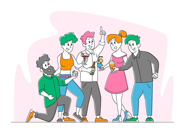 Freunde party mit getränken, freundschaftskonzept Premium Vektoren
