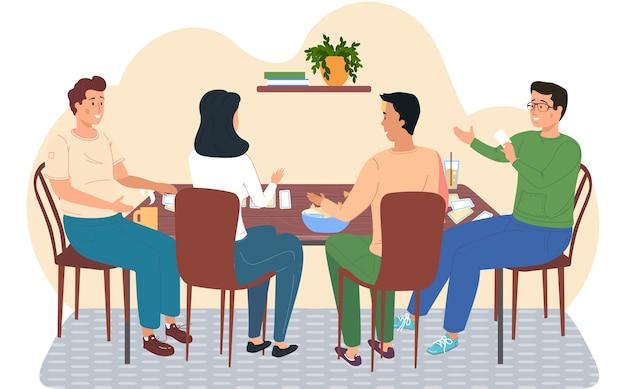 Freunde spielen karten, die an einem tisch sitzen, junge leute, die eine gute zeit zusammen zu hause oder im café haben. glückliche menschen ruhen sich aus, trinken getränke mit süßigkeiten und spielen ein brettspiel. freundliche familienspiele Premium Vektoren