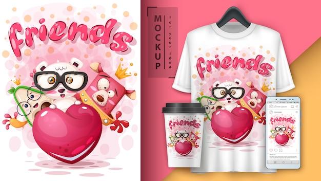 Freunde tiere poster und merchandising Premium Vektoren