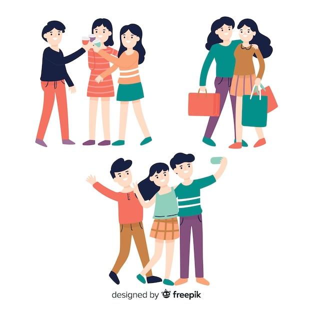 Freunde verbringen zeit zusammen sammlung Kostenlosen Vektoren