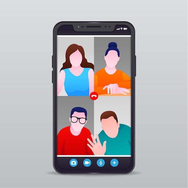 Freunde videoanruf illustration Kostenlosen Vektoren