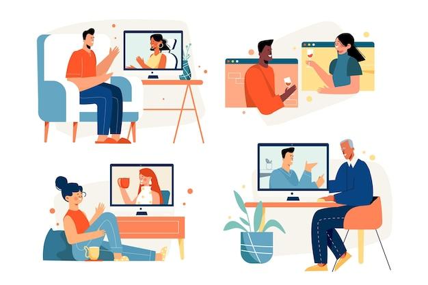 Freunde videokonferenzszenen eingestellt Premium Vektoren