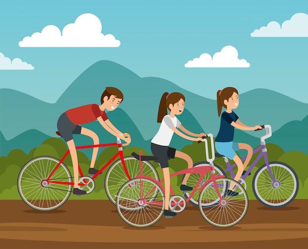 Freundfrauen und -mann, die fahrrad fahren Kostenlosen Vektoren