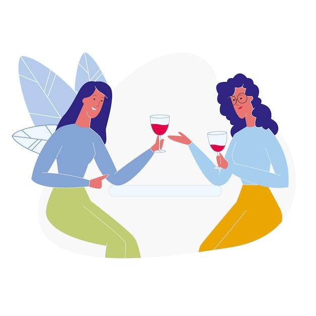 Freundinnen, die flach rotwein trinken Premium Vektoren