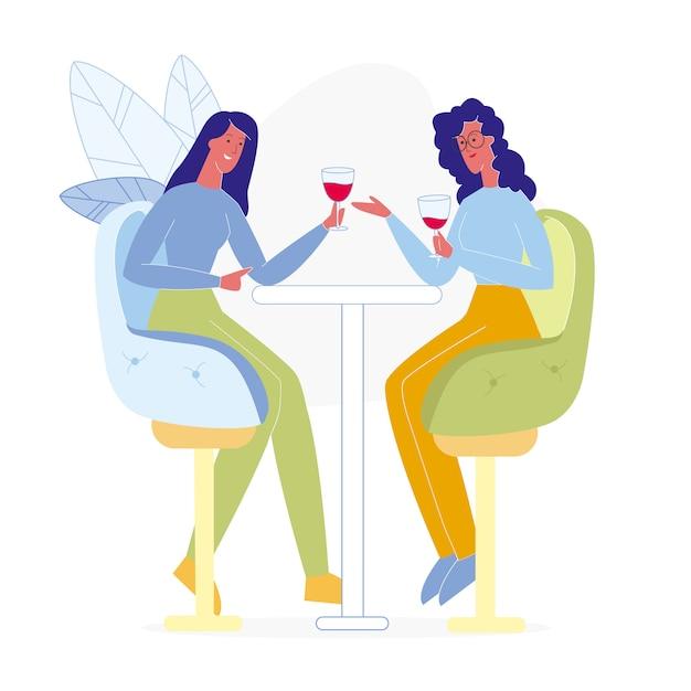 Freundinnen, die in der bar-flachen illustration trinken Premium Vektoren