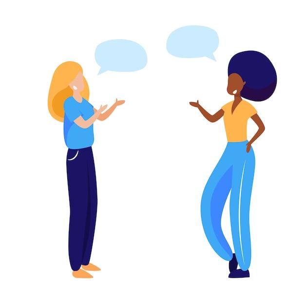 Freundinnen, die nachrichten besprechen Kostenlosen Vektoren