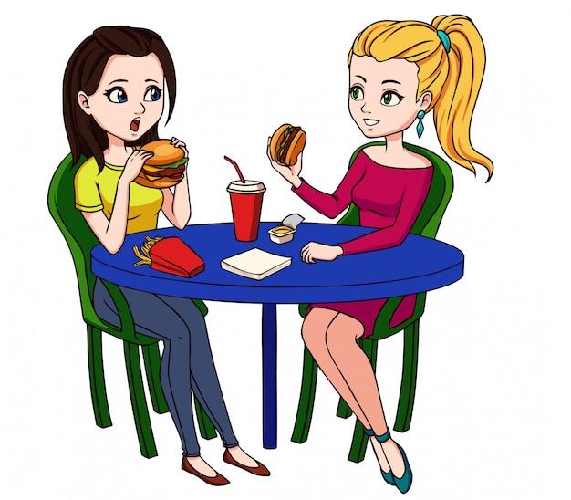 Freundinnen, die schnellimbiß im restaurant essen. Premium Vektoren