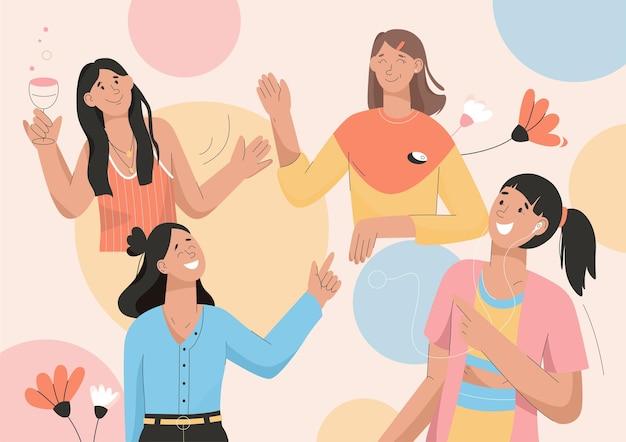 Freundinnen haben spaß auf der party, freunde treffen sich Premium Vektoren