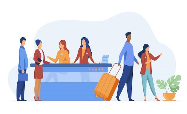 Freundliche rezeptionisten vom hotelregistrierungsschalter helfen den kunden Kostenlosen Vektoren
