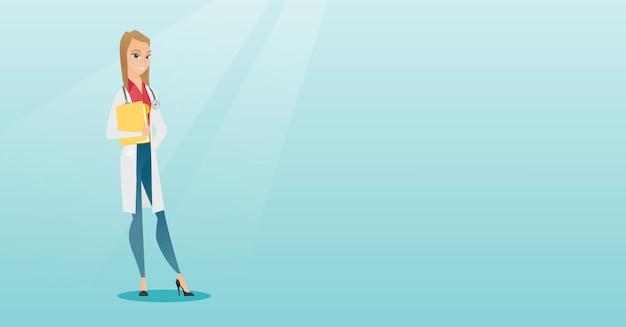 Freundlicher doktor mit einem stethoskop und einer datei. Premium Vektoren