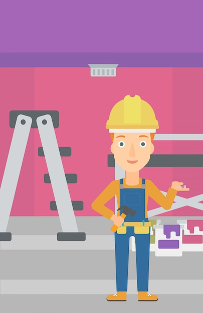 Freundlicher reparaturtechniker. Premium Vektoren