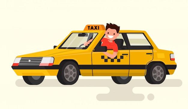 Freundlicher taxifahrer am steuer der autoillustration Premium Vektoren
