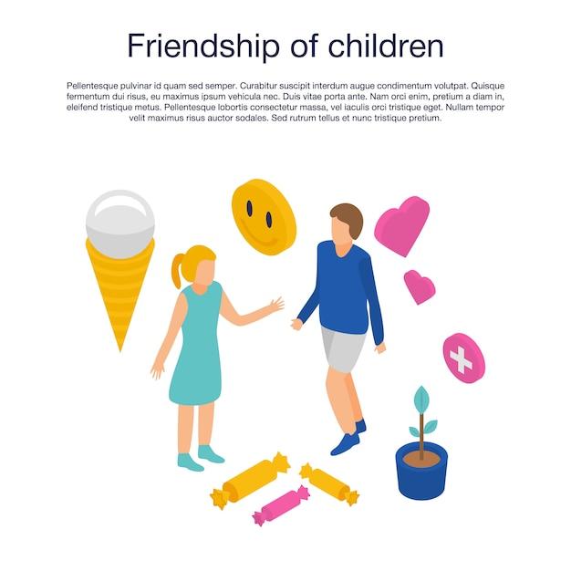 Freundschaft der kinderschablone, isometrische art Premium Vektoren