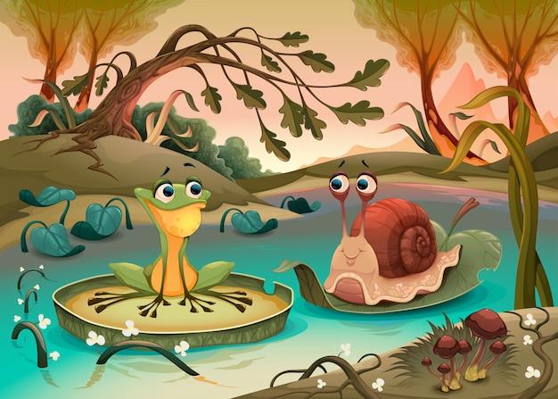 Freundschaft zwischen frosch und schnecke. Premium Vektoren