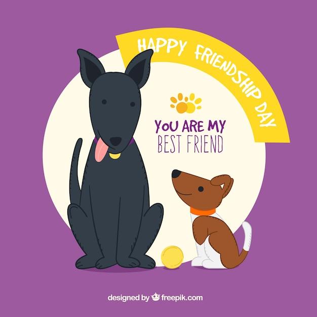 Freundschafts-tag hintergrund mit zwei hunden Kostenlosen Vektoren