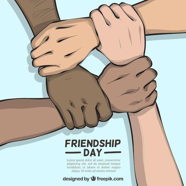 Freundschaftstageshintergrund mit den händen, die unterstützen Kostenlosen Vektoren