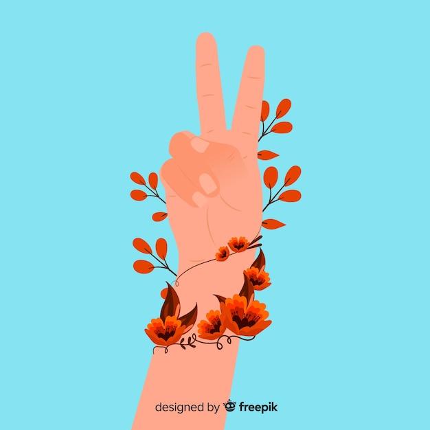 Friedensfingersymbol mit flachem design Kostenlosen Vektoren