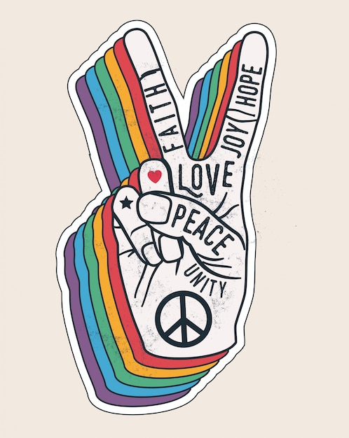 Friedenshandgestenzeichen mit wörtern darauf. friedensliebesaufkleberkonzept für plakate oder t-shirt design. vintage gestaltete illustration Premium Vektoren